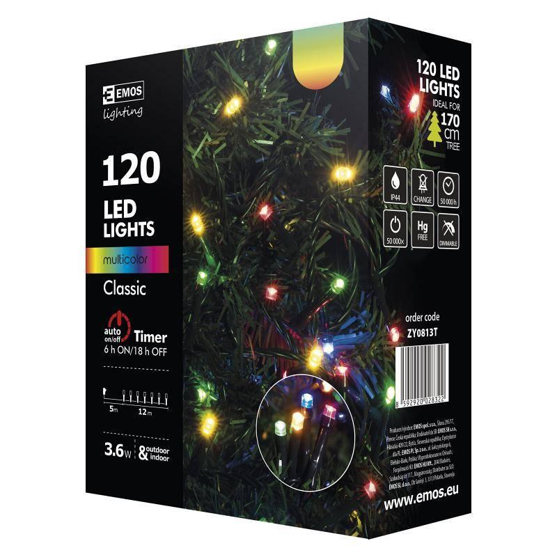 Vianočné osvetlenie EMOS 120 LED, 12m, řetěz, vícebarevná, časovač, i venkovní použití (1534081035)