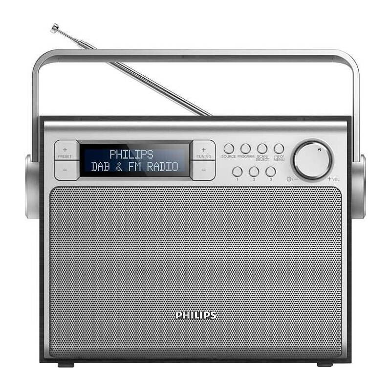 Radiopřijímač s DAB Philips AE5020B stříbrný/dřevo