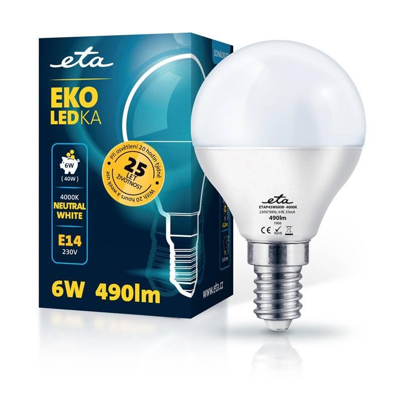 LED žiarovka ETA EKO LEDka mini globe 6W, E14, neutrálna biela (P45W6NW)
