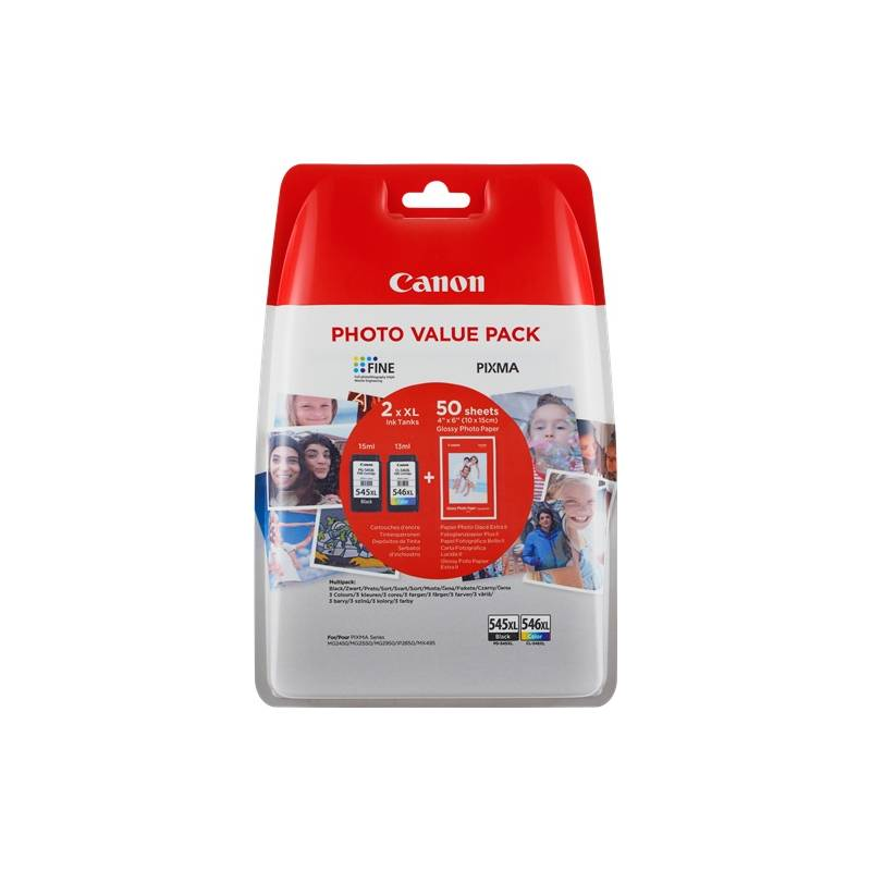 Cartridge Canon PG-545XL/CL-546XL, 400/300 stran, Photo Value Pack, CMYK, (8286B006)