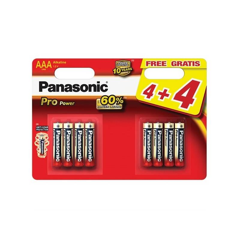 Batéria alkalická Panasonic Pro Power AAA, 4+4 ks (LR03PPG/8BW)