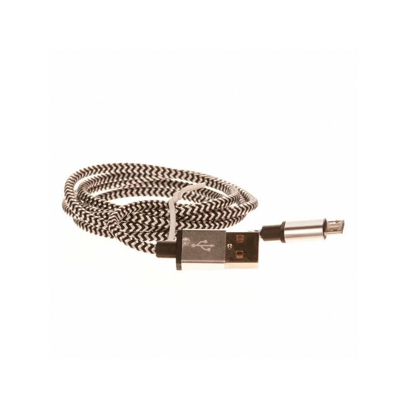 Kábel CellFish USB/micro USB, 1m (PLUSBKABELSILVER) strieborný