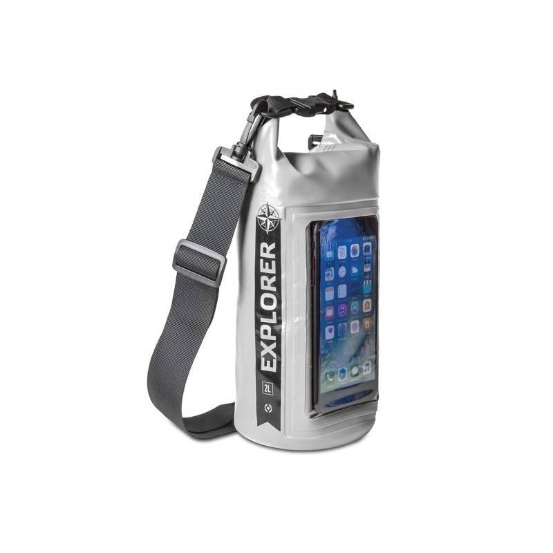 "Puzdro na mobil športové Celly Voděodolný vak Explorer 2L s kapsou na telefon do 6,2"" (EXPLORER2LGR) sivý"