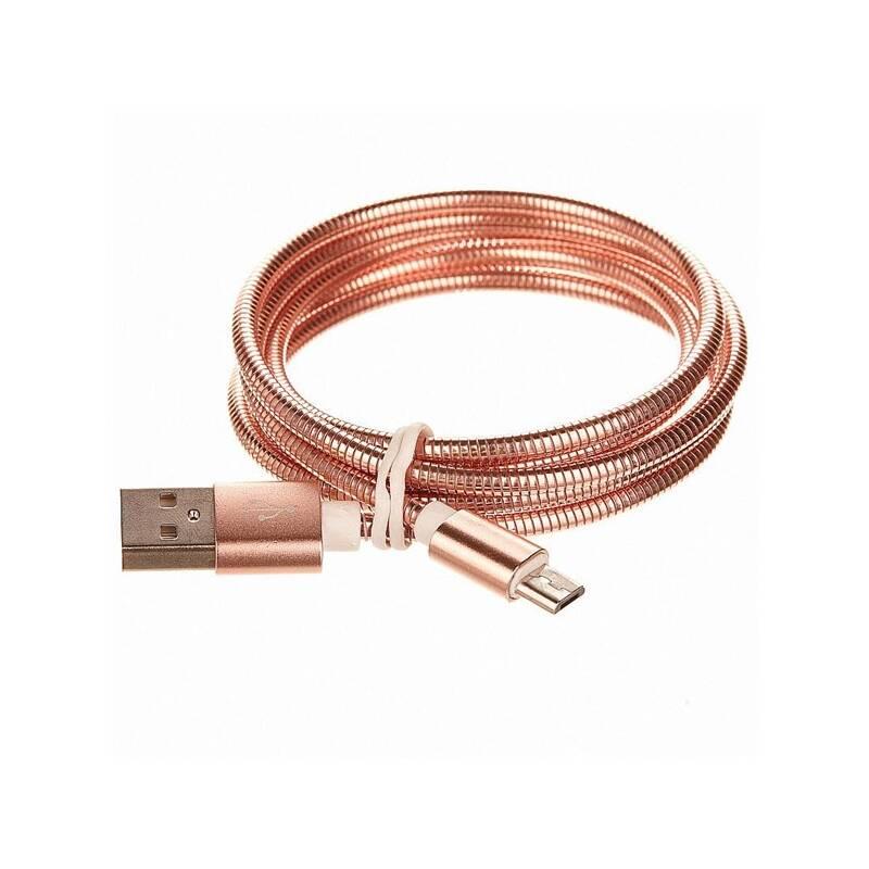 Kábel CellFish kovový, USB/micro USB, 1m (CELLKOVPINK) ružový