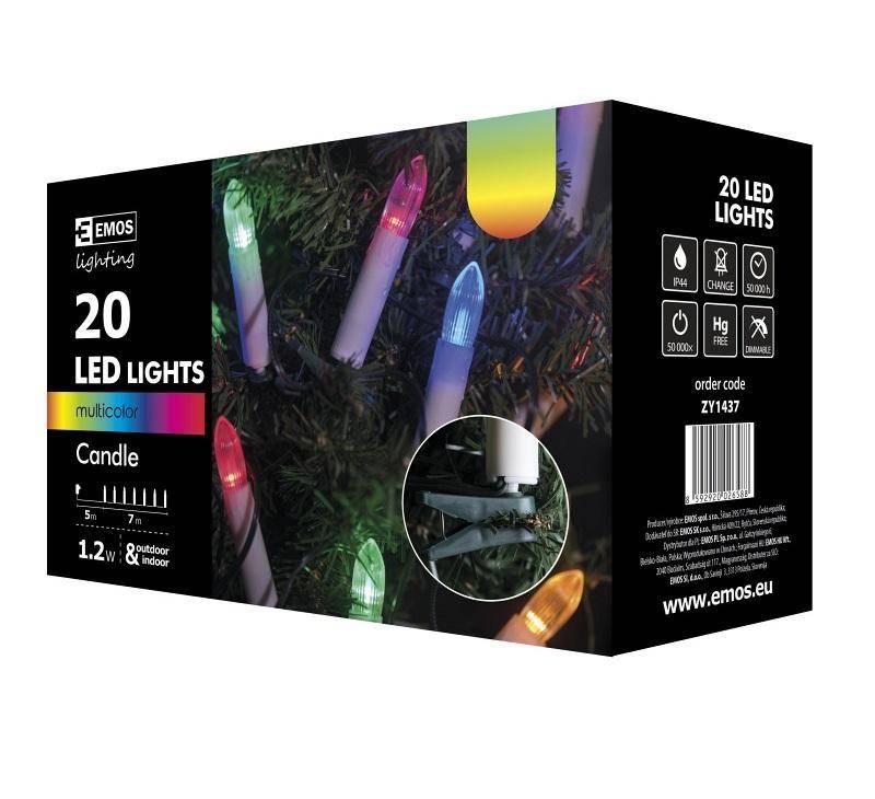 Vianočné osvetlenie EMOS 20 LED, 7m, řetěz (svíčky), vícebarevná, i venkovní použití (1534141370)