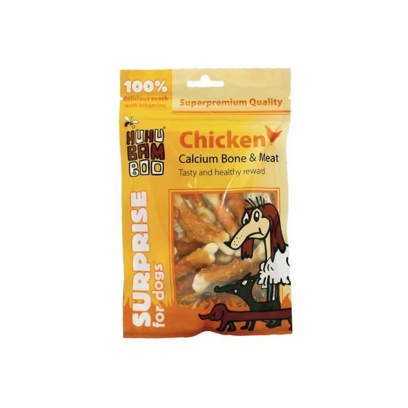 Pamlsok Huhubamboo Surprise Dog kuřecí maso na kosti s kalciem 75g