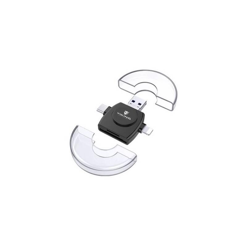 Čítačka pamäťových kariet Viking SD, Micro SD 4v1, OTG, s koncovkou Lightning/Micro USB/USB 3.0/USB-C (VR4V1B) čierna