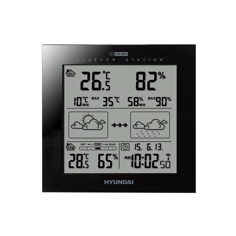 Meteorologická stanice Hyundai WS 2244 B černá + Hyundai záruka 40 měsíců
