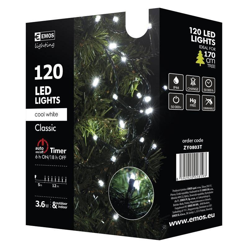 Vianočné osvetlenie EMOS 120 LED, 12m, řetěz, studená bílá, časovač, i venkovní použití (1534080035)