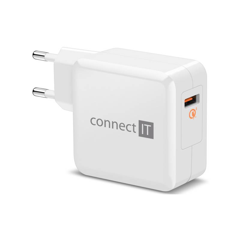 Nabíjačka do siete Connect IT InCarz, 1x USB (3A), s funkcí rychlonabíjení QC 3.0 (CWC-2010-WH) biela