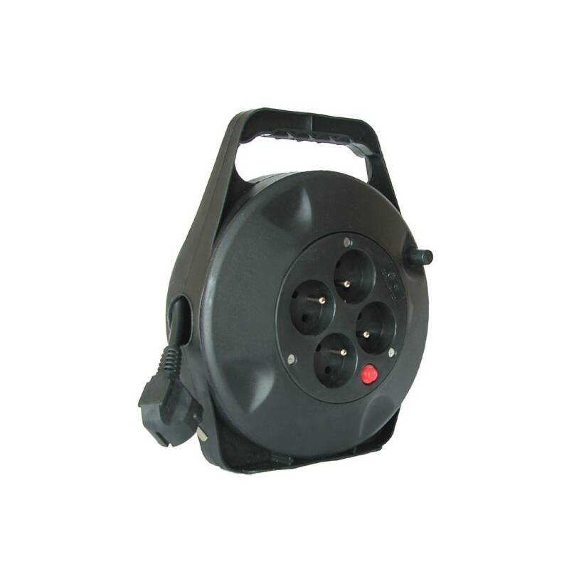 Kabel prodlužovací na bubne Solight 4 zásuvky, 10m, 3x 1,5mm2 (PB21) čierny