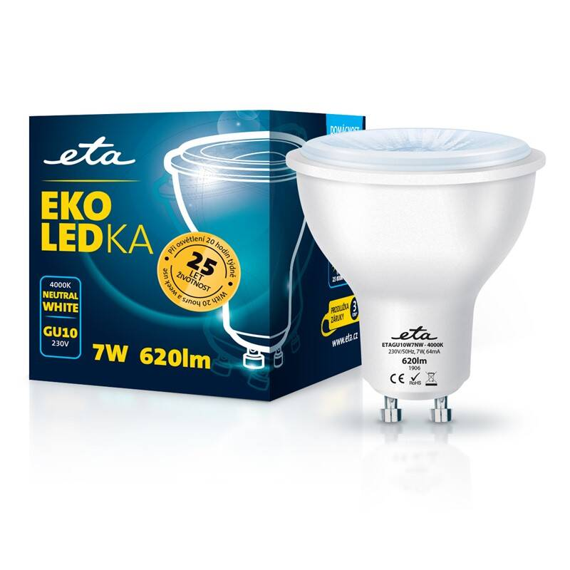 LED žiarovka ETA EKO LEDka bodová 7W, GU10, neutrálna biela (GU10W7NW)