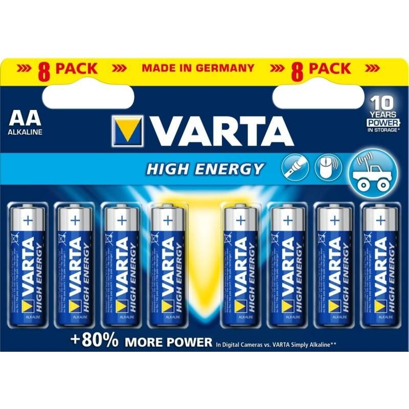 Batéria alkalická Varta High Energy, AA, 8 ks