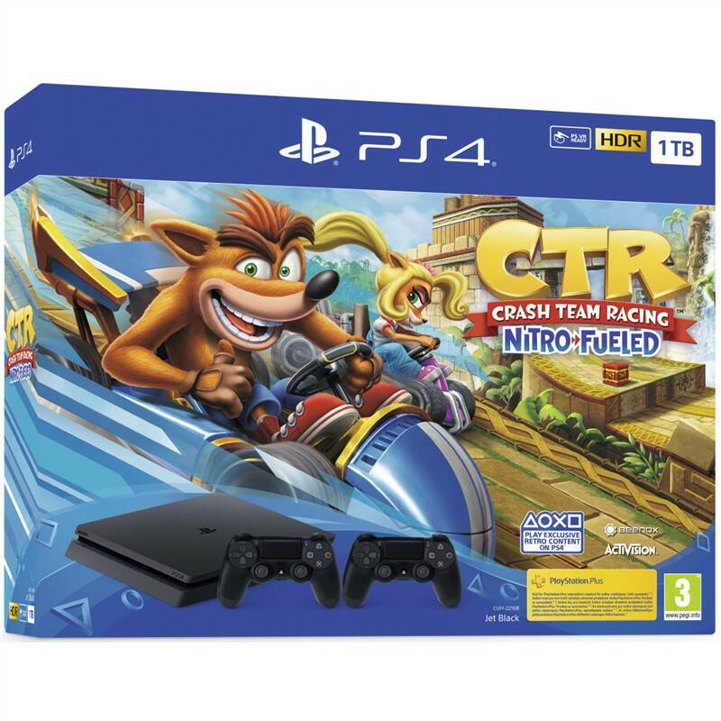 Herní konzole Sony PlayStation 4 1 TB + Crash Team Racing + 2x ovladač (PS719936206) černá