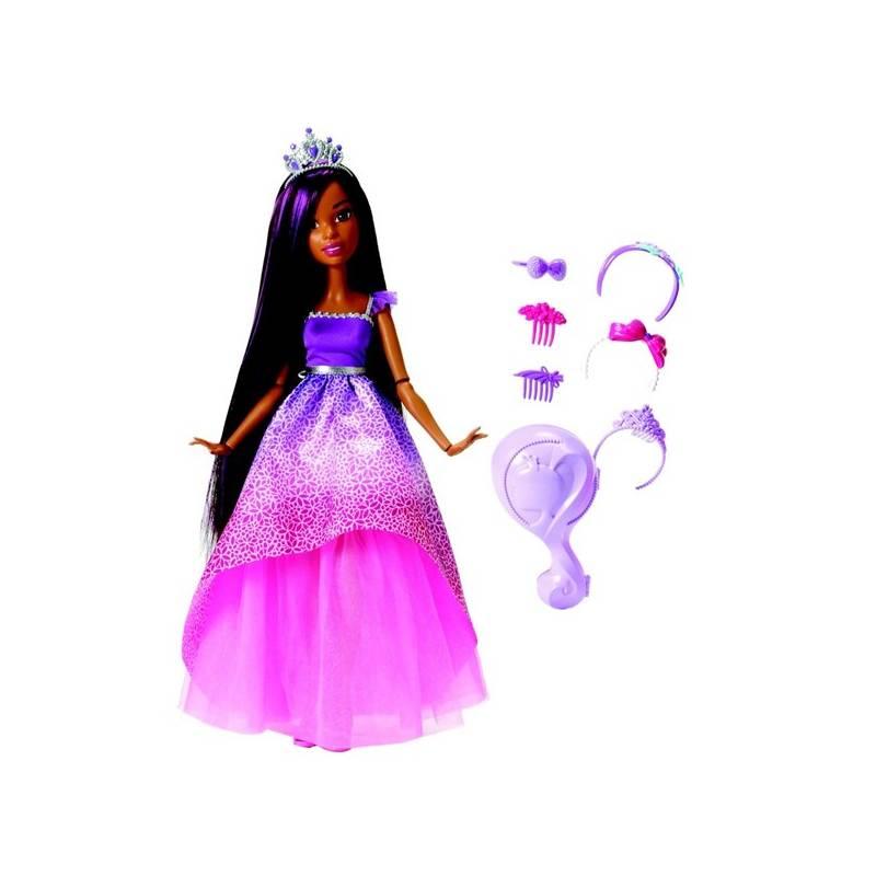 Barbie Mattel vysoká princezna s dlouhými vlasy brunetka