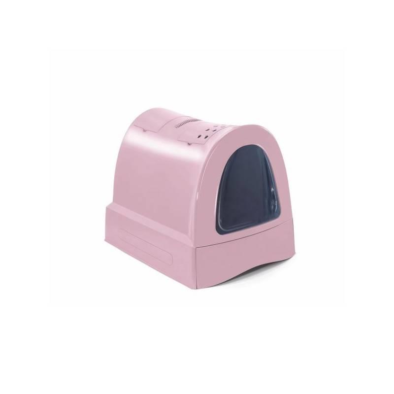 Krytý mačací záchod Argi s výsuvnou zásuvkou pre podstielku 40 x 56 x 42,5 cm - ružová