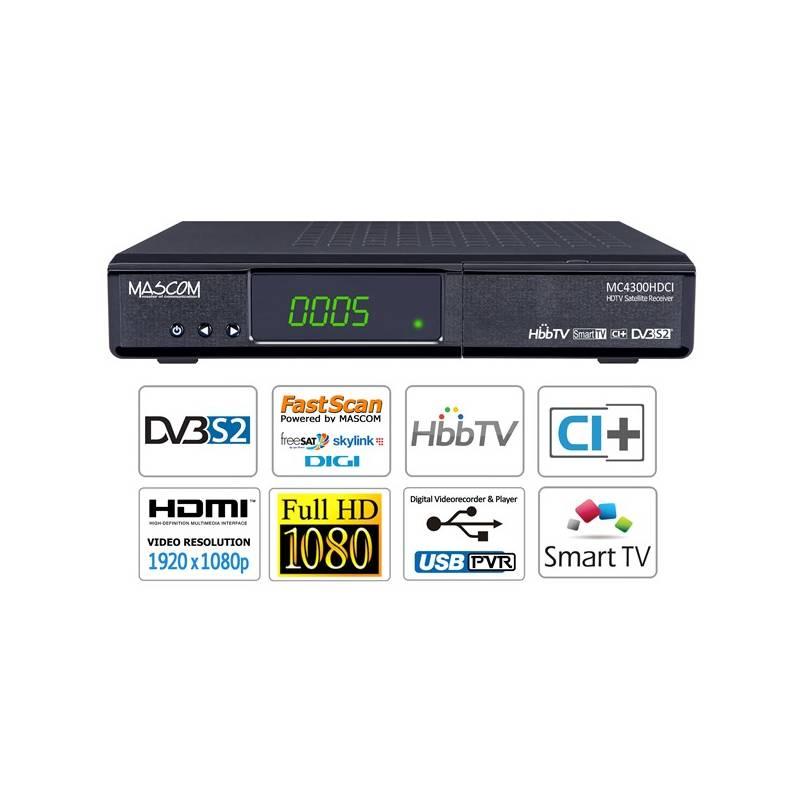 Satelitný prijímač Mascom MC4300HDCI-SMART HD čierny