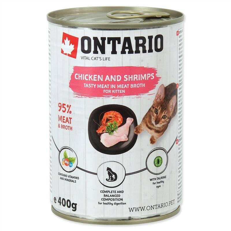 Konzerva Ontario Kitten Chicken,Shrimp,Rice and Salmon Oil 400g