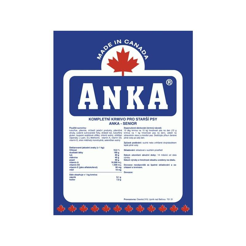 Granule ANKA Senior 10 kg, pro starší psy