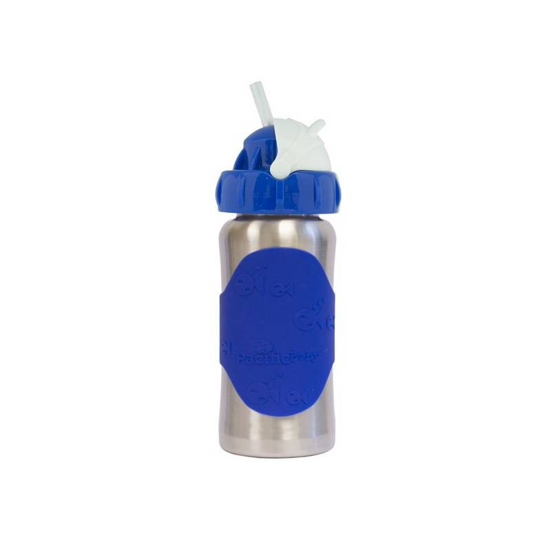 Detská fľaša Pacific Baby GroGrow nerezová ekololáhev s brčkem 300ml modrá