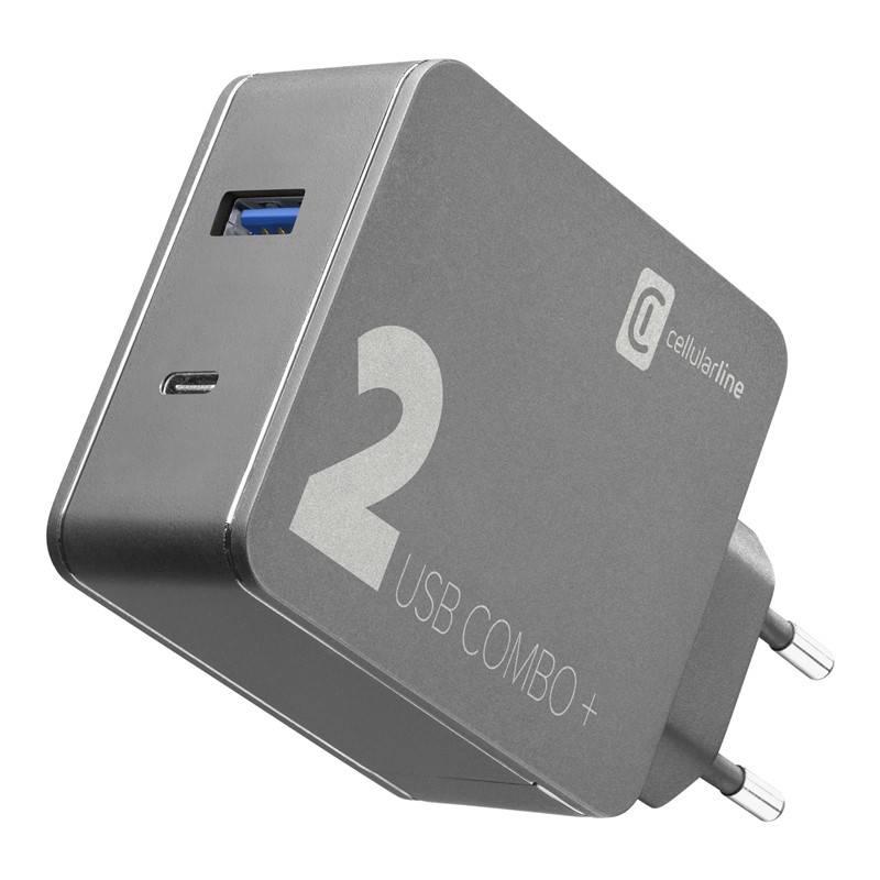Nabíjačka do siete CellularLine Multipower 2 Combo Plus,1x USB 3.0, 1x USB-C, PD 48W + 1,6 m USB-C kabel (ACHITKITC2CQCPD48K) čierna + Doprava zadarmo