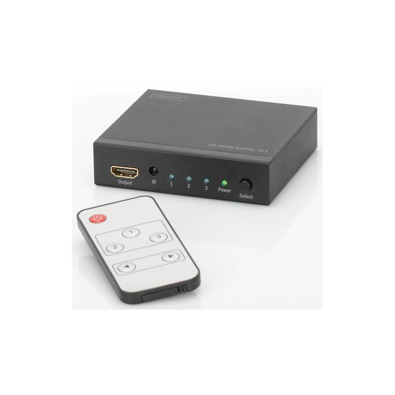HDMI prepínač Digitus 3x1, podpora 4K + dálkové ovládání (DS-48304) čierny