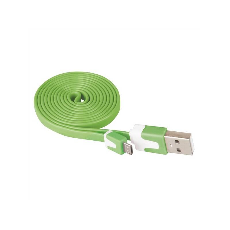 Kábel EMOS MicroUSB, 1m zelený