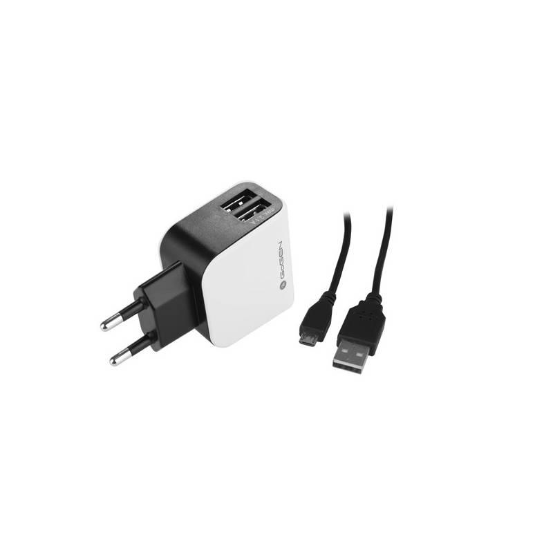 Nabíjačka do siete GoGEN ACH 201 C, 2x USB + microUSB kabel 1,2m (GOGACH201C) čierna/biela