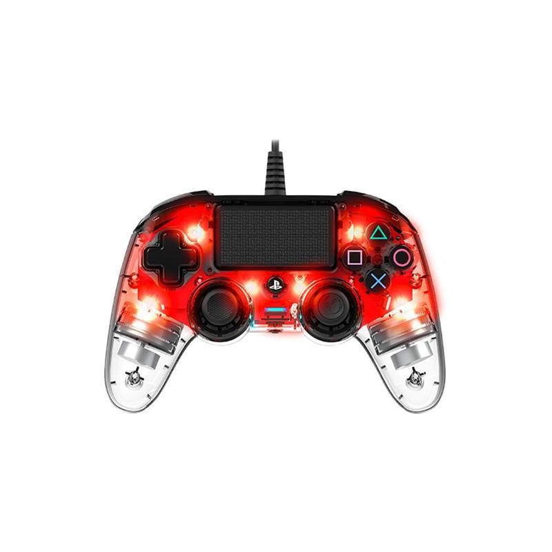 Gamepad Nacon Wired Compact Controller pro PS4 (ps4hwnaconwicccred) červený/průhledný