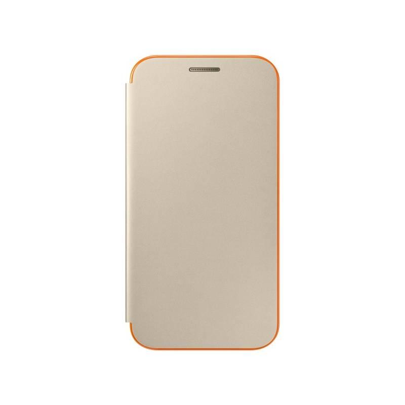 Pouzdro na mobil flipové Samsung Neon flip pro Galaxy A3 2017 (EF-FA320PFEGWW) zlaté
