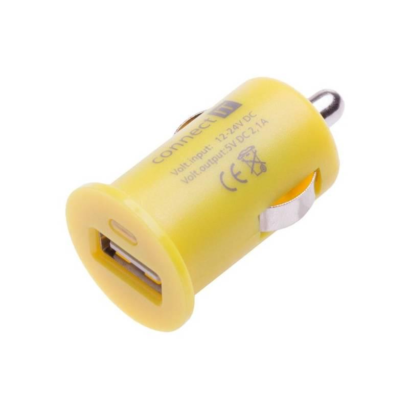 Adaptér do auta Connect IT InCarz COLORZ, 1x USB, 2,1A (CI-591) žlutý