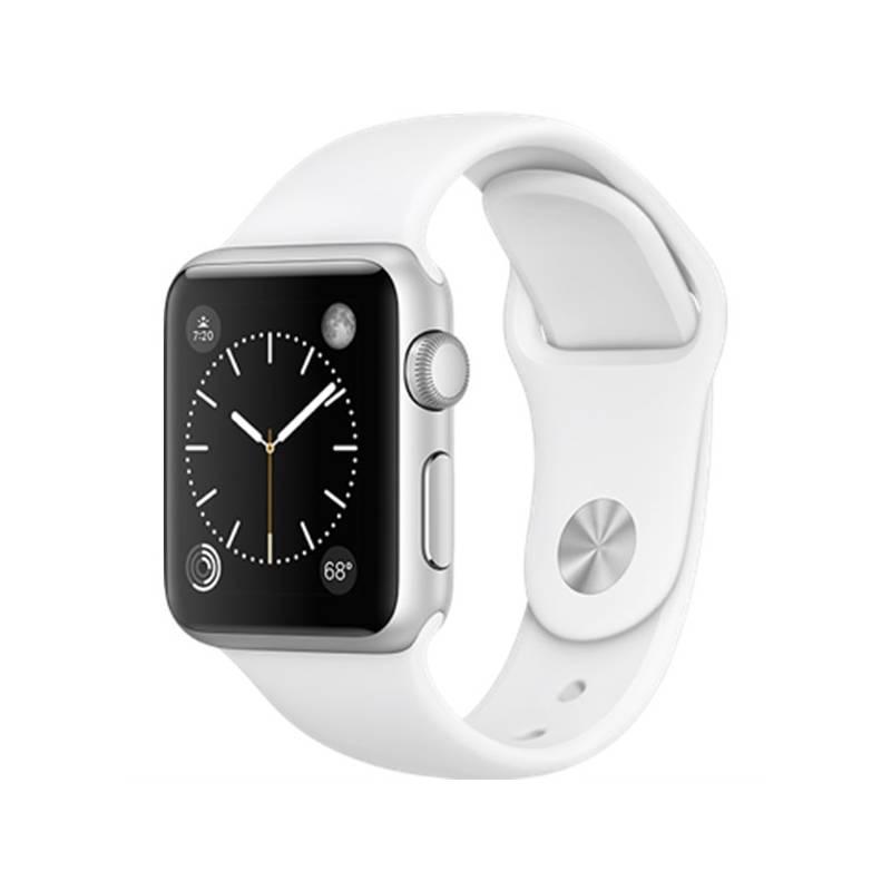 Chytré hodinky Apple Watch Series 1 38mm pouzdro ze stříbrného hliníku – bílý sportovní řemínek (MNNG2CN/A)