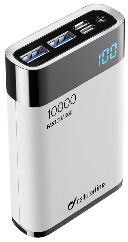 Power Bank CellularLine FreePower Manta HD 10000mAh, USB-C PD, QC 3.0 (FREEPMANTA10HDW) biela + Doprava zadarmo