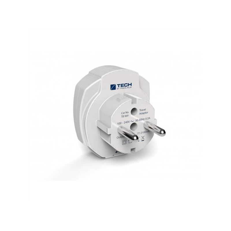 Cestovní adaptér TECH TBU-969 pro EU, 2x USB bílý