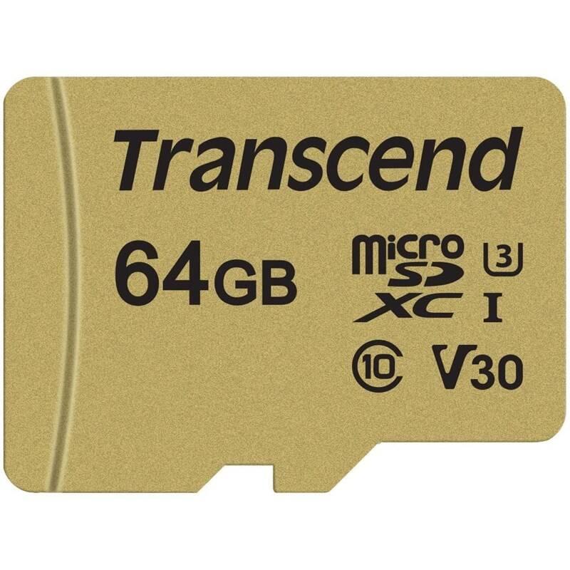Pamäťová karta Transcend 500S microSDXC 64GB UHS-I U3 (Class 10) (95R/60W) + adapter (TS64GUSD500S)