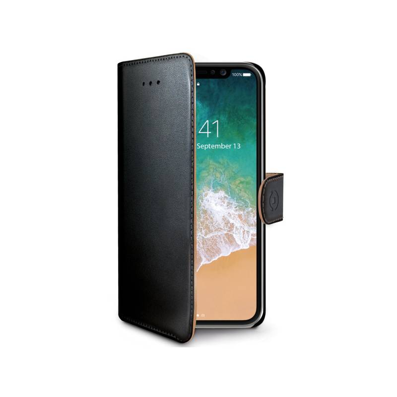 Puzdro na mobil flipové Celly Wally pro Apple iPhone X (WALLY900) čierne