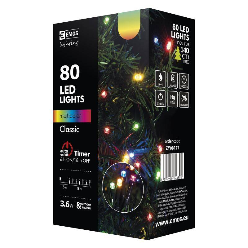 Vianočné osvetlenie EMOS 80 LED, 8m, řetěz, vícebarevná, časovač, i venkovní použití (1534081025)