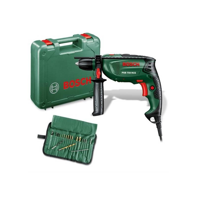 Vŕtačka Bosch PSB 750 RCE, příklepová + sada 19 ks příslušenství zelená