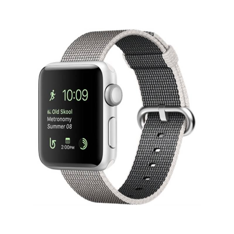 Chytré hodinky Apple Watch Series 2 38mm pouzdro ze stříbrného hliníku – perlově šedý řemínek z tkaného nylonu (MNNX2CN/A) + Doprava zadarmo