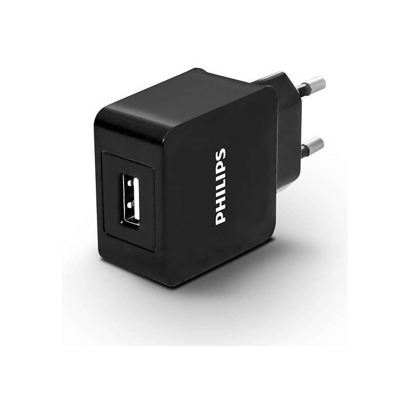 Nabíjačka do siete Philips DLP2309, 1x USB, 2,1A (Phil-DLP2309/12) čierny