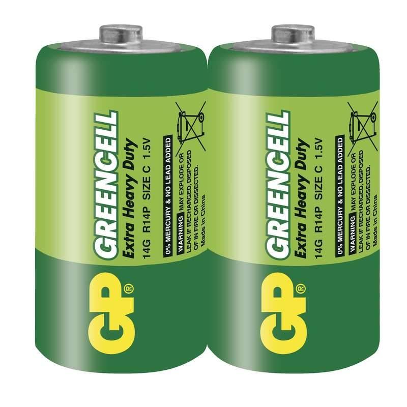 Baterie zinkochloridová GP Greencell C, R14, fólie 2ks (GP 14G)