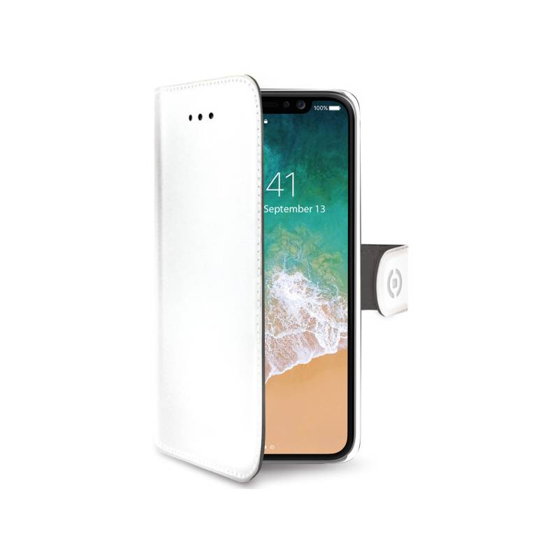 Puzdro na mobil flipové Celly Wally pro Apple iPhone X (WALLY900WH) biele
