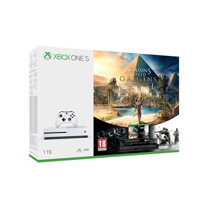 Herná konzola Microsoft Xbox One S 1 TB + Assassin's Creed: Origins + Rainbow Six: Siege; 14 denní Xbox LIVE GOLD 1 měsíční Xbox Game Pass (234-00235)