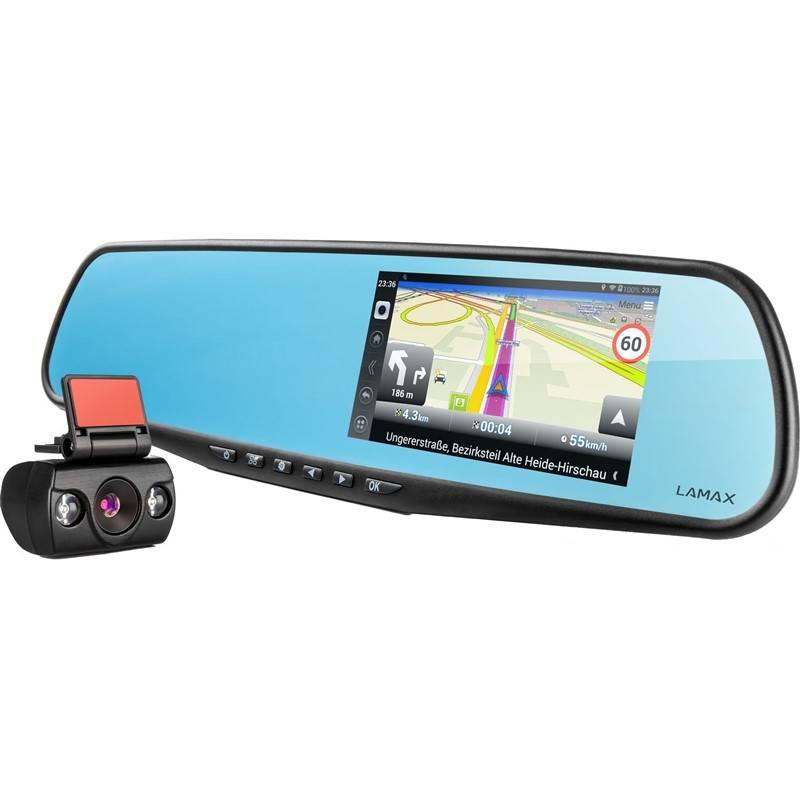 Autokamera LAMAX Drive S5 Navi+ so spätným zrkadlom čierna