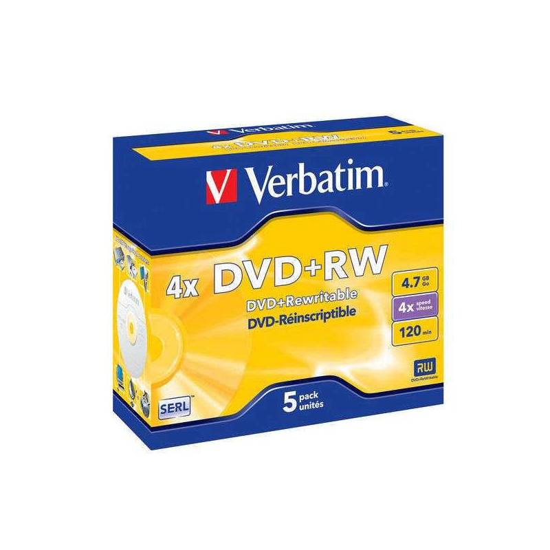 Disk Verbatim DVD+RW 4,7GB, 4x, jewel box, 5ks (43229)