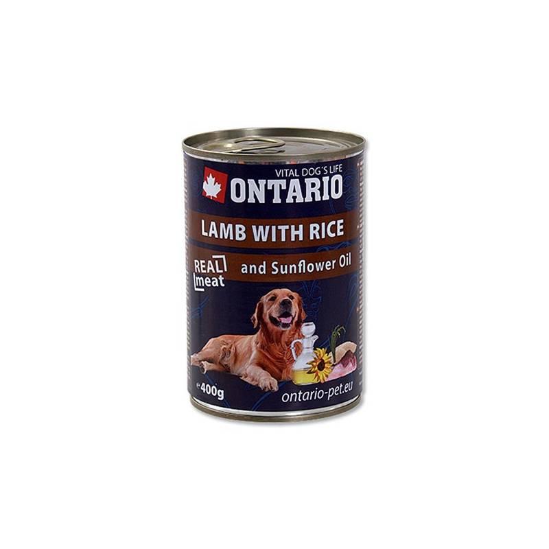 Konzerva Ontario Adult jehněčí, rýže a slunečnicový olej 400g
