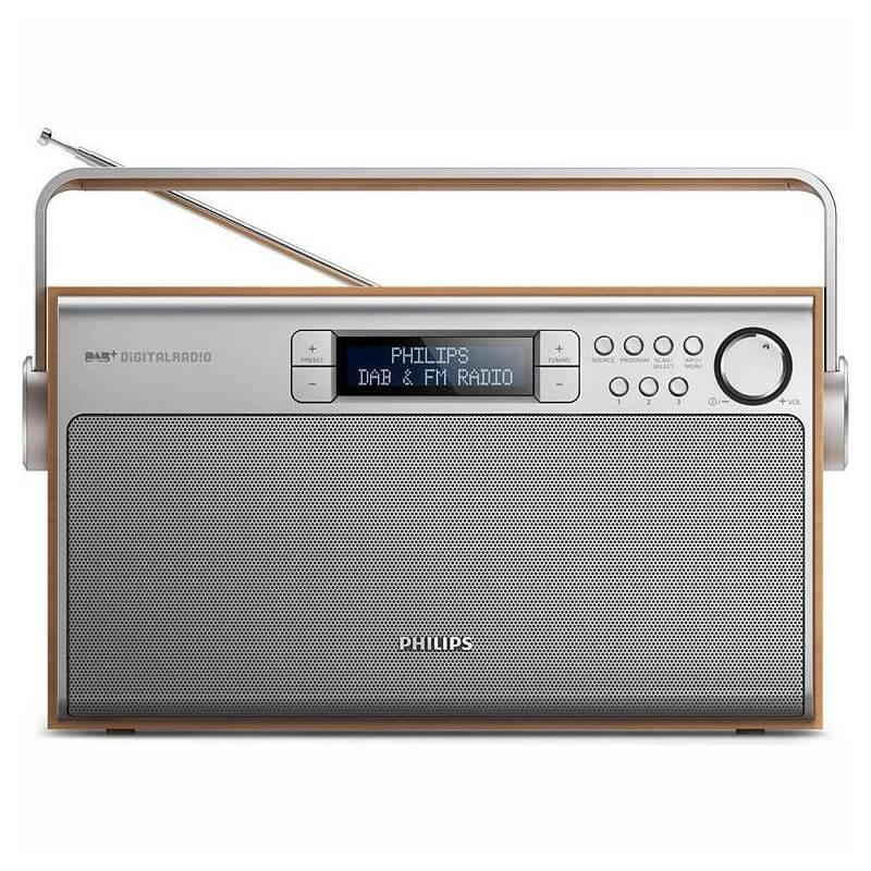 Radiopřijímač s DAB Philips AE5220 stříbrný/dřevo