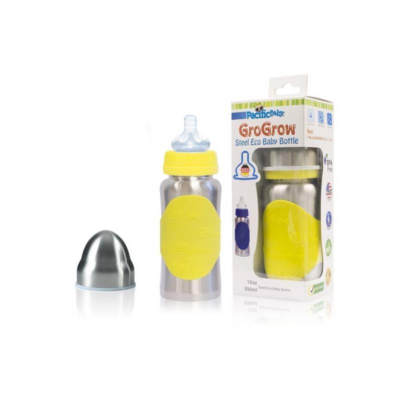 Dojčenská fľaška Pacific Baby GroGrow EKO 300ml žltá + Doprava zadarmo