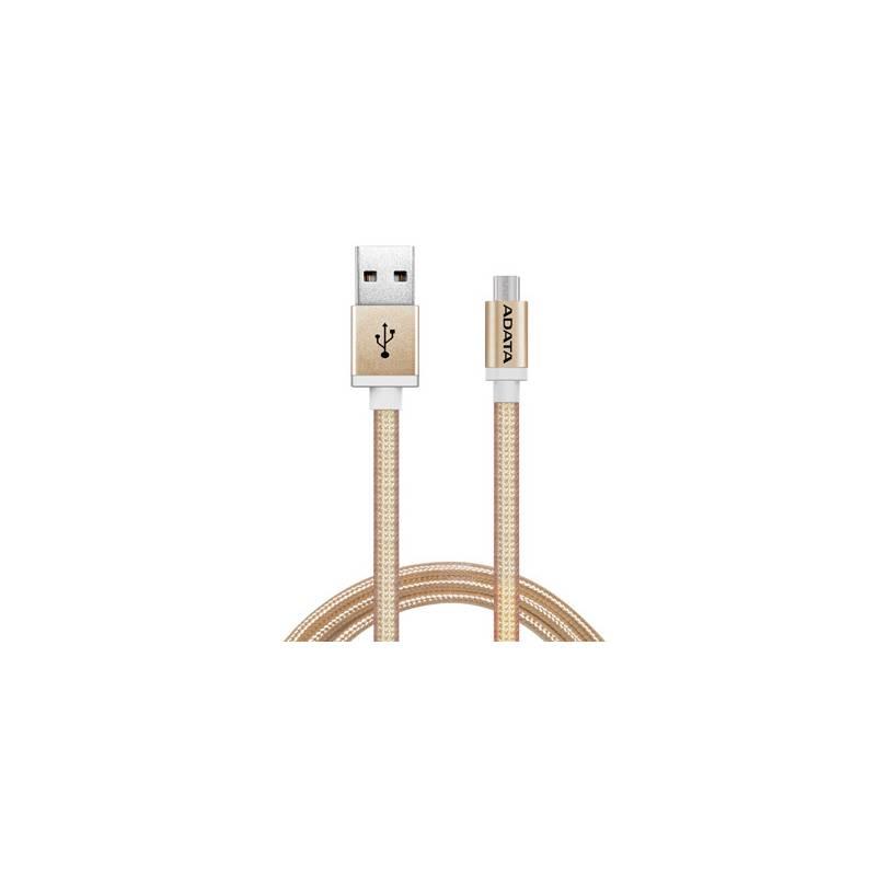 Kábel ADATA USB/micro USB, 1m, pletený (AMUCAL-100CMK-CGD) zlatý