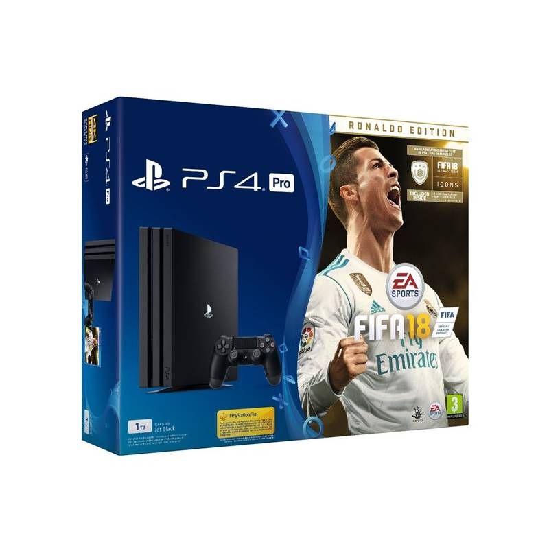 Herná konzola Sony PlayStation 4 PRO 1TB + FIFA18 Ronaldo Edition + PS Plus 14 dní (PS719917267) čierna + Doprava zadarmo